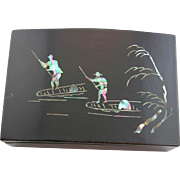 Vintage 1947 Black Lacquer Box From Korea