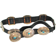 Vintage  1960's Sterling & Turquoise Conch Belt