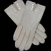 Vintage 1950's Fancy Kid Leather Gloves