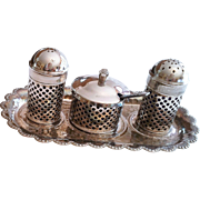 Vintage Silver Plated Made In England Salt, Pepper, Condiment And Try