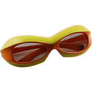 Vintage 1960's Samco Mod Dep. Funky Sunglasses In Orange & Yellow