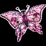 REDUCED Juliana Pink Rhinestone Butterfly Brooch