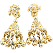 REDUCED KJL Gold Colored Chandelier Earrings With White Pearls