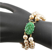 Lovely Marvella Faux Pearl and Jade Glass Bracelet