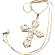 Two Tone 10k Gold Cross Necklace