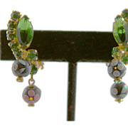 Juliana Green Rhinestone Clip Earrings