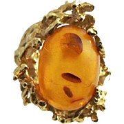 Natural Baltic Amber & 14K Gold Free Form Artisan Designed And Constructed Ring