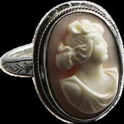 Vintage Estate Find Sterling And Angel Skin Coral Carved Cameo Ring