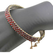 Victorian Three Row Rose Cut Garnet Bangle Bracelet