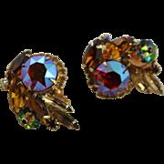 Juliana Green Margarita With Multi Colored Stone Clip Earrings