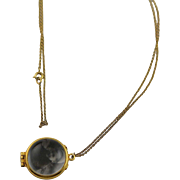 Antique Rock Crystal Ball Photo Locket 14K Gold Filled Chain and Frame Marked