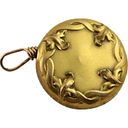 Antique Art Nouveau Retractable Chain Pin For Watch, Glasses Withe Repose Testing 10k Gold