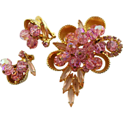 Vintage 1960's Juliana Pink Stone Set, Brooch &earrings