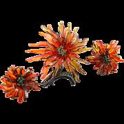 Vintage 3D Orange Lucite Brooch & Earrings