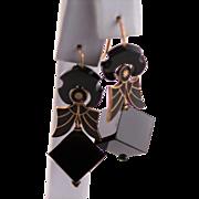 Antique Victorian Mourning 14K Gold Black Enameling & Jet Earrings
