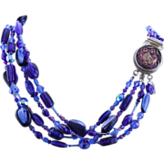 Vintage German Glass Clasp with Vintage Beads, Swarovski Crystals and Sterling