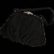 Vintage Black Satin Handbag, JR. USA Purse, Rhinestone Handle Satin Handbag