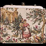 Vintage 1950's Tapestry Fay Mell Design Handbag