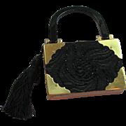 Vintage Cigar Box & Black Lace Box Bag