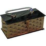 Pretty Vintage 1960's Basket Weave Brass Rectangular Bag