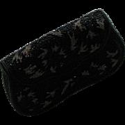 Vintage Black Beaded Clutch Party Bag