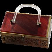Vintage 1960's Fancy Lucite & Pierced Brass Bag
