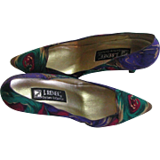 REDUCED Vintage Multi Colored Water Colored Silk Pumps