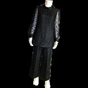 SOLD Black Lace, Satin & Taffeta Henry L Pant & Tunic Set