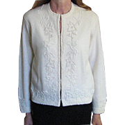 REDUCED    Vintage 1980's, Hand Beaded Whit Sweater, Cyn Les Desirable Vintage