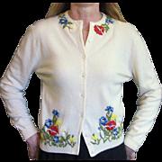 Vintage 1950's Virgin Cashmere Sweater, Vintage Appliqued Flower Sweater