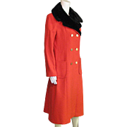 Vintage Full Length Red Wool Coat With Black Faux Fur Removable Collar