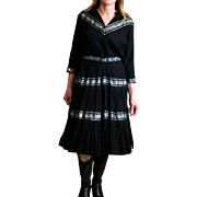 Vintage 1950's Full Skirted Black Cotton & Fancy Ribbon Cowgirl Dress
