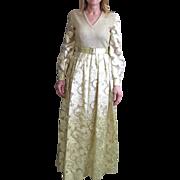 Vintage Huey Waltzer For Mannequin Gold & White Lame Dress Floor Length Dress