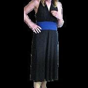 Vintage 1980's Evan-Picone Black Dress With Sapphire Blue Sewn In Cummerbund Dress