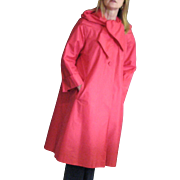 Beautiful Vintage Dark Rose Weather Resistant Lawrence of London 100% Pure Silk Coat