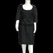 Classy Black Vintage 1950's Glass Bead Decorated Sheath Dress