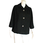 Super Black Wool 1950's Box Style Coat/Jacket With Fancy Rhinestone Buttons