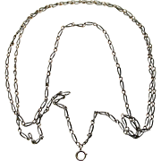 A Long Silver Enamel Niello Necklace Chain