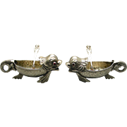 SOLD Pair Of Fanciful Figural 800 Silver Dolphin Salt Cellars With Spoons
