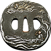 Edo Period Japanese Tsuba Depicting The Legend Of Hakuryo & The Hagoromo