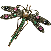 An Art Nouveau 18K French Dragonfly Brooch Set With Emeralds, Diamonds, Sapphires, Rubies, & A