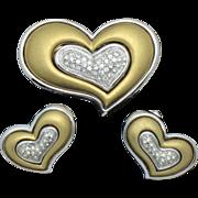 SALE Vintage Satin Gold Plated Rhinestone Figural Heart Brooch Post Earring SET