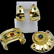 SALE TULLA BOOTH Semi Precious Gemstone Earring Bracelet Brooch SET