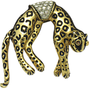 SALE FLORENZA  Enamel Rhinestone Cheetah Leopard Brooch