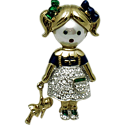 SALE CAROLEE  Figural Girl Brooch Limited Edition  Original Box