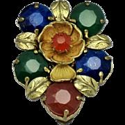 SALE Czechoslovakia Czech Multi Color Gold Plated Rhinestone Dress Clip Pin