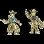 SALE CORO Very Rare Rhinestone Faux Pearl Figural Cowboy Cowgirl Brooch Pair
