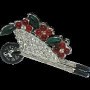 SALE Art Deco Figural Brooch  Cabochon Rhinestone  Flower Cart Pin