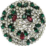 TRIFARI  Domed Ruby Red Emerald Green  Rhinestone Rhodium Plate  Brooch