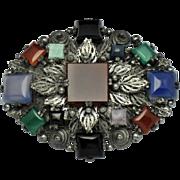 Vintage Gemstone Carnelian Agate Onyx Silver Filigree Brooch